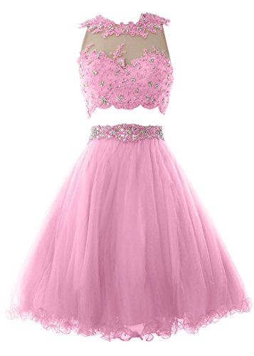 MACloth Women Two Piece Lace Tulle Short Prom Dress Homecoming Party Formal Gown Rosa