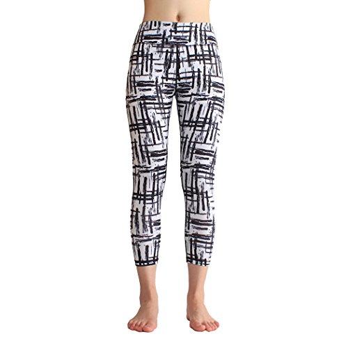 Threelove Women's Activewear Slim Fit Yoga Pants High Waist Inner Pocket Comfy Capri Leggings Non See-through Fabric Black L