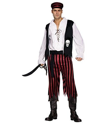 [Black and Red Pirate Buccaneer Men Costume] (Halloween Costumes With Red Bandana)