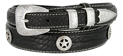 Western Silver Engraved Rodeo Star Ranger Genuine Leather Bison Belt for Men (Black, 36) (Ranger Belt Buckle)