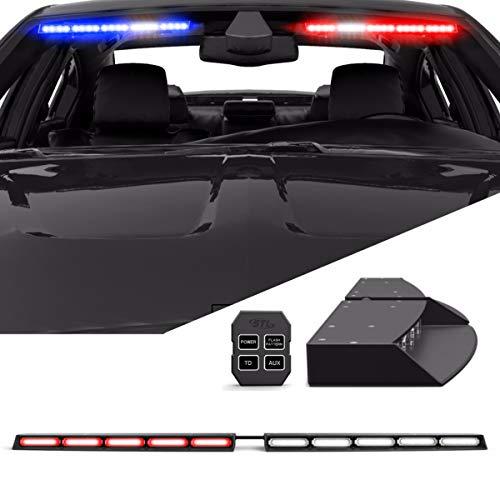 (Raptor TIR Interior Upper Windshield Split LED Visor Light Bar for Emergency Vehicle Warning Visor Lights - Red/Clear)