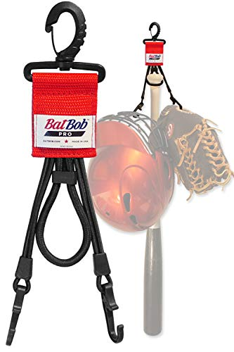BatBob Pro - Dugout Gear Hanger - The Dugout Organizer - for Baseball and Softball to Hold Bats, Helmets and Gloves (Red)