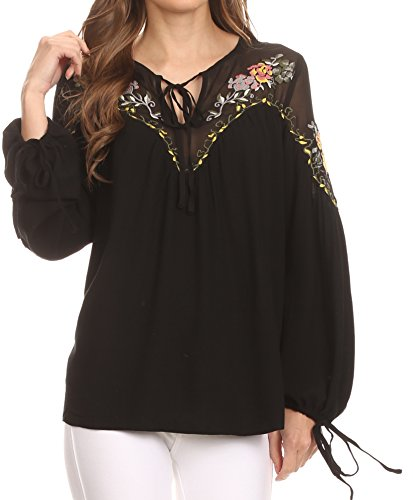 Sakkas HRF20 - Enya Long Sleeve Adjustable Bell Sleeve Batik Blouse Top Shirt - Black - 1X