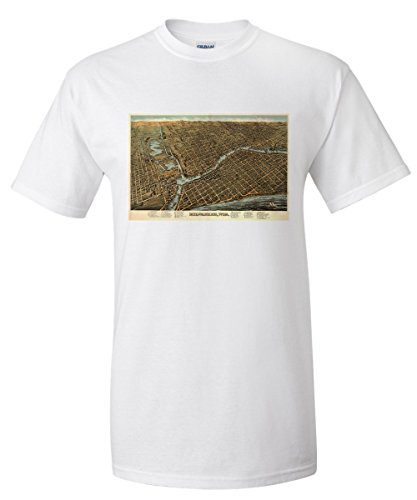 milwaukee-wisconsin-panoramic-map-white-t-shirt-xx-large