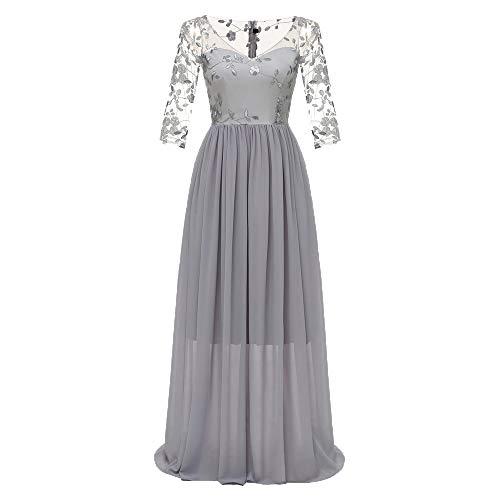 (iLUGU Women Formal Lace Chiffon Long Maxi Dress Prom Evening Party Cocktail Bridesmaid Gown Dress)