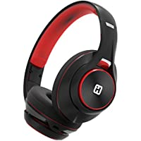 iHome iB90V2BRC Bluetooth Headphones Extra Long Battery Mic Black/Red - Featuring Melody, Voice Powered Music Assistant