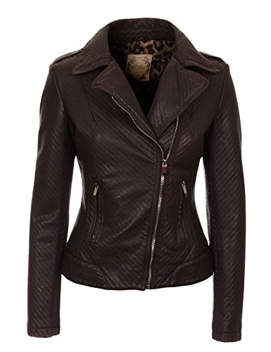 MBJ Womens Street- Chic Faux Leather Jacket M COFFEE
