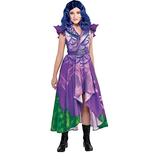 Party City Descendants 3 Dragon Mal Costume for Children, Size Medium, Features Purple and Green Dragon Dress with