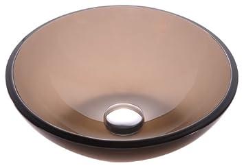 Kraus GV 103 14 Clear Brown 14 Inch Glass Vessel Bathroom Sink