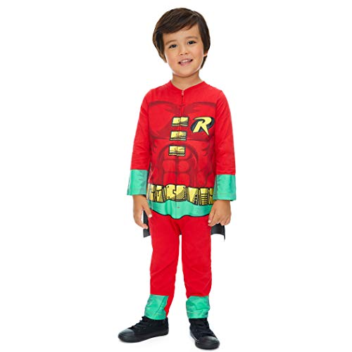 Evil Baby Halloween Costumes (Warner Bros. Justice League Robin Baby Boys' Zip-Up Caped Costume Coverall (6-9)