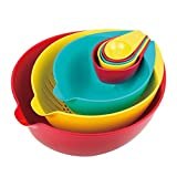 Master Pan MP-123 Nested Mixing and Measuring Bowl 8-Piece Set, 10'', Multi-Colored