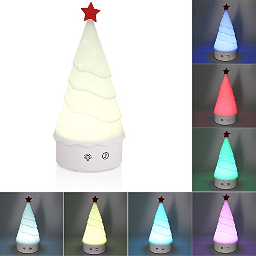 Christmas Tree Music Night Light Lamp Gift Portable Rechargeable Soft Silicone Table Lamp for Bedroom for Children with White & 7-Color Breathing Modes, USB Rechargeable Lighting (Night Christmas Tree)