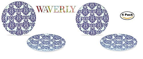 WAVERLY 4-Piece 100% Melamine Salad Plate Set Shatter-Proof and Chip-Resistant Melamine Dinner Plates (Solar Flair Collection) 8'' by WAVERLY