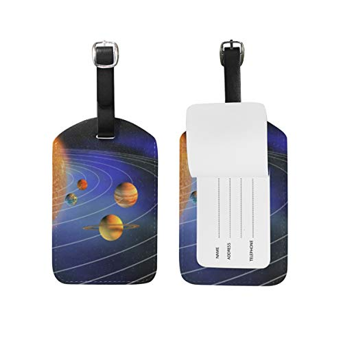 Luggage Tags Planets In Solar System Travel ID Identifier for People 2 Pack ()