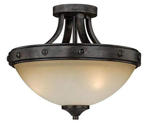 Vaxcel C0077 Halifax 2 Light Semi-Flush Mount, Aged Walnut ()