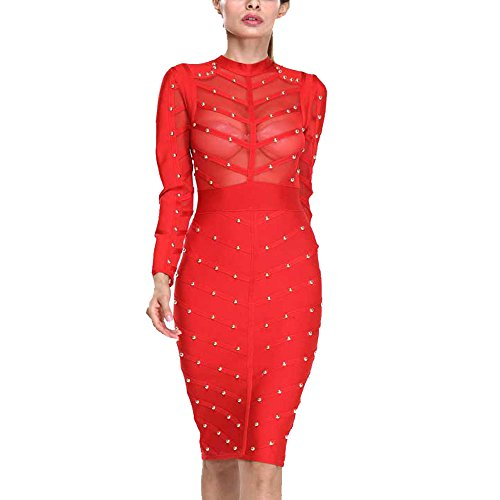 HLBandage Long Sleeve Mesh Beaded Knee Length Rayon Bandage Dress(L,Red)