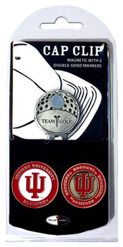 Team Golf NCAA Indiana Hoosiers Golf Cap Clip with 2 Removable Double-Sided Enamel Magnetic Ball Markers, Attaches Easily to Hats