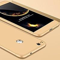 Cekuonline Huawei P9 Lite 2017 Kılıf 360 Derece Ön Arka Korumalı Sert Rubber Gold (Altın) Kapak