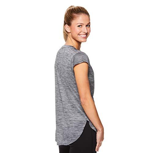 Reebok Women's Legend Performance Short Sleeve T-Shirt with Polyspan Fabric - Black Black Heather, X-Small by Reebok (Image #2)