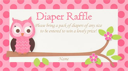 Pink Owl Printed Diaper Raffle Tickets Baby Shower Games (50-cards) by (Owl Babyshower)