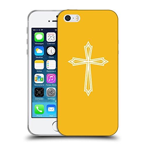GoGoMobile Coque de Protection TPU Silicone Case pour // Q09400602 Croix chrétienne 50 ambre // Apple iPhone 5 5S 5G SE