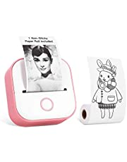 Memoking T02 Pocket Thermal Printer-Compact Bluetooth Wireless Portable Mobile Printer, 50-53mm Black and White Printing for Gift Study Notes Work Children, Compatible with iOS & Android, Pink