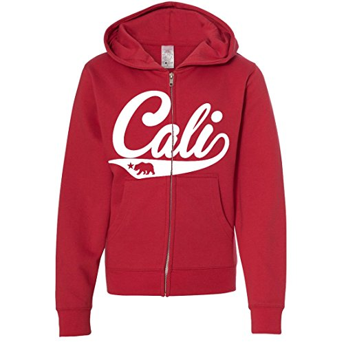 Cali Bear Logo Youth Zip-Up Hoodie - Red Medium