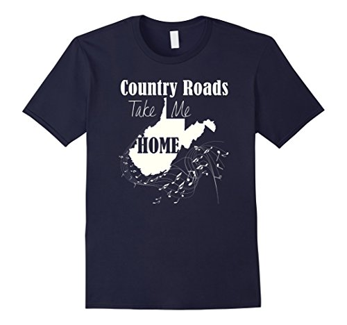 "Mens West Virginia Pride T-Shirt ""Country Roads Take Me Home"" 2XL Navy"