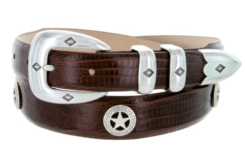 Presidential Silver Star Western Golf Concho Italian Calfskin Leather Dress Belt (42 Lizard Brown)