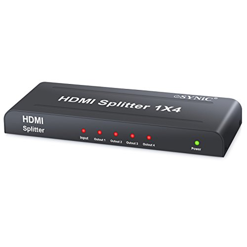 ESYNIC 4 Way HDMI Powered Splitter 1 In 4 Out 1X4 4 Ports HDMI Audio and Video Splitter HDMI Splitter Amplifier Switch Full HD 1080P and 3D Support HD Hub Smart Splitter Box - One Input to Four Output