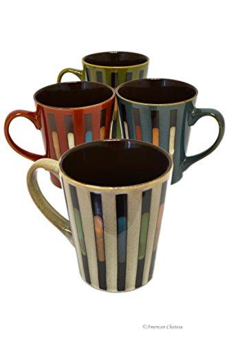 Set 4 Colorful Vintage Stripe 12oz Stoneware Hand Painted Tea Coffee Mugs ()