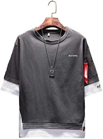 [アスペルシオ] 七分袖 フェイクレイヤード 丸首 シャツ メンズ