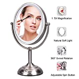 Lighted Makeup Mirror, LED Vanity Mirror with 1x/5x Magnification, Dimmable Adjustable Natural Soft Light, Double-sided Tabletop Mirror with Stand, 360° Swivel Rotation, AC Adapter or Battery Operated