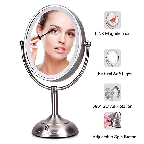 Lighted Makeup Mirror - 8'' x 7'' LED Vanity Mirror with 1x/5x Magnifying, 360 Rotation Double Sided Makeup Mirror With Round Non-slip Base, Natural White Light, AC Adapter Or Battery Operated