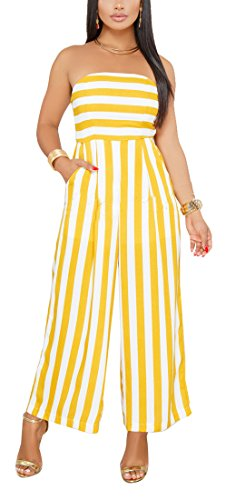 SheKiss Women's Sexy Strapless Striped Loose Long Pants Palazzo Jumpsuits with Pockets Ladies Outfits Yellow - Ladies Pant Suit
