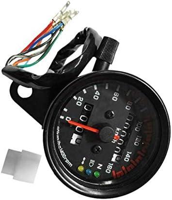 Luckya オートバイスピードメーター走行距離計デュアルスピードメーター付きLCDインジケータオートバイの交換部品