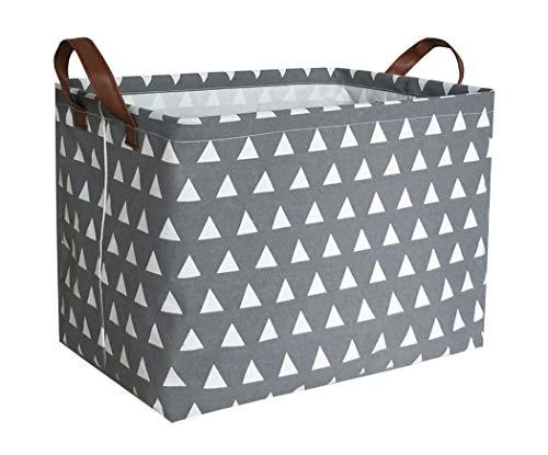 ESSME Rectangular Fabric Storage Box,Collapsible Storage Basket Bins Organizer with Handles for Kids Room,Shelf Basket,Toy Organizer (Grey Triangle) (With Baskets Toy Shelf)