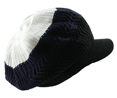 Beanie White Visor - RW Knitted Cotton Rasta Slouchy Beanie Visor (White/Navy/Black)