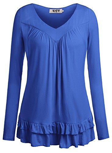 DJT Women's V Neck Long Sleeve Ruched Front T Shirt