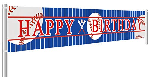 Colormoon Large Baseball Happy Birthday Banner, Sports Theme Birthday Party Supplies Decorations -