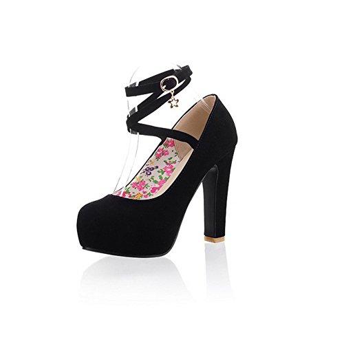 Balamasa Mujeres Buckle High Heels Bombas Sólidas Zapatos Negro