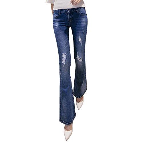 Mena UK Frauen erweiterte Abschnitt Jeans Straight Dünn Loch Loose Large Size Light Hose Kleine Bell-Böden Boot Cut Hose ( farbe : Hellblau , größe : 27 )