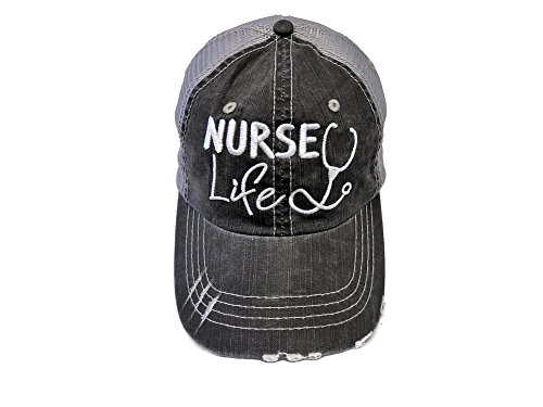 Spirit Caps Embroidered Nurse Life Distressed Look Grey Trucker Cap Hat