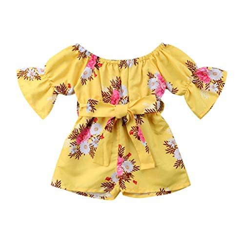 MOGOV 2019 Baby Girls Summer Off Shoulder Floral Print Bow Boho Romper Comfortable Jumpsuit Outfits Yellow (Best Ranch Dressing 2019)