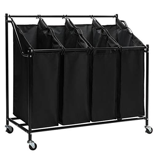 (Marble Field Laundry Sorter Storage Cart with 4 Section Rolling Removable Heavy Duty Bags Laundry Hamper with Wheels Black)