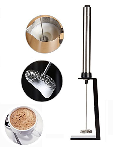Naiver Handheld Electric Stainless Steel Milk Frother with the Free Bonus Mounting - Battery Down Hold Bracket