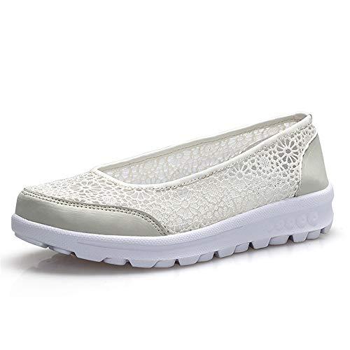 FangYOU1314 Zapatos de Tela de Encaje Zapatos de Enfermera Suave Zapatos de Madre Huecos Transpirables (Color : Beige, tamaño : 38 EU) Beige