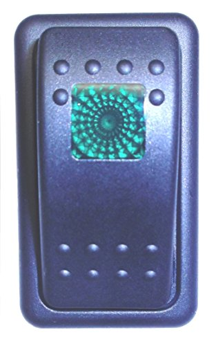 Rocker Bracket - Fastronix Lighted Rocker Switch Single Panel with Snap in Mounting Bracket Casing (Green)