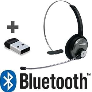 Avantronics Avantree AH5 - Juego de auriculares de diadema Bluetooth con micrófono y adaptador USB (Skype, VoIP, juegos)