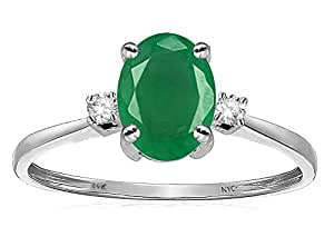 Star K Oval 8x6mm Genuine Emerald Engagement Promise Ring 14kt Size 7